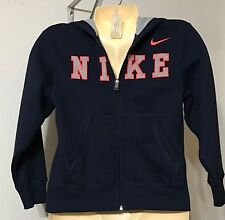 Boys Nike Hoodie Size Small Navy NWT Zip Front Gray Orange Trim Front Pockets