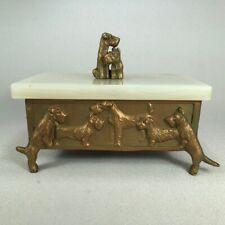 Antique Box, Onyx Lid, Airedale, Skye, Scottie, Sealyham, Wire Fox Terrier Dogs