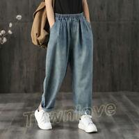 Retro Womens Elastic Waist Loose Casual Soft Denim Jeans Wide Leg Pants Trousers