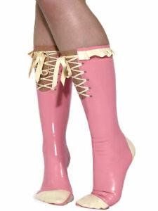 100% latex rubber pink and white cute fashion ladies long socks XXS-XXL 0.45mm