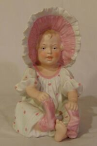German Gebruder Heubach Bisque Porcelain Piano Baby Girl Pink Bonnet Polka Dot
