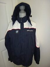 BMW Motorsport~Men's Navy Blue White Windbreaker Hidden Hood Jacket~Size S