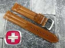 19mm SWISS ARMY CAVALRY MILITARY Brown Leather Strap Victorinox Watch Band 19