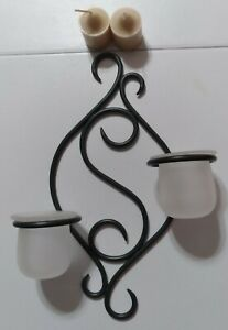 Party Lite Wall Sconce Green Wire With 2 Frosted Glass Cups