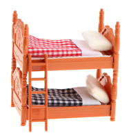 MagiDeal 1/12 Dollhouse Miniature Bedroom Furniture Wooden Bunk Bed Set Toy