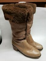RARE LL Bean 70s Vintage Shearling Lined Heel Leather Boot Womens Blondo Size 8