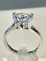 925 Sterling Silver 5 Carat Trillion Shape Solitaire Engagement Ring AAAA