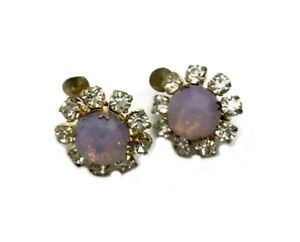 Vintage Earrings Gold Faux Opal Glass Paste Daisy Flower Clip On GIFT BOXED