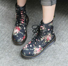 Vintage Womens Mid Calf Ridding Lace Up Flowers Combat Ankle Boot Fashion Shoes