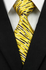 Yellow Designer Hand Woven 100% Pure Silk Tie with Black & Yellow Modern Pattern