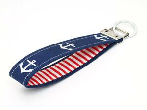 Nautical Key Wristlet Fabric Keychain Key Fobs - achors in navy blue red stripes
