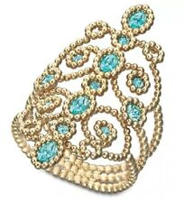 NIB $125 Swarovski Azore Filigree Ring Gold Plated Size 52/6/S #5037558