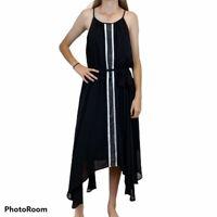 City Chic Womens Black with White Strip Sleeveless Dress with Tie Belt Size XS