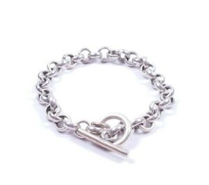 Sterling Silver Toggle Bracelet Round Belcher Links Heavy 25grams 7.5 Inches