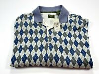Dockers Golf L Argyle Men's Short Sleeve Cotton Polo Large NEW NWT