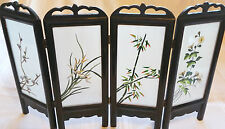 "HUGE Floral 18""x12"" Chinese Wood Divider 4 Screen 2-Sided Su Embroidery + Case"
