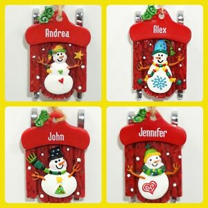 Ganz Sled Christmas Ornament Red Sleigh Snowman Personalized Choose Name NWT