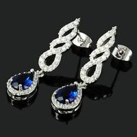 Damen Baumeln Weissgold Birnenform Blau Saphir Edelstein Tropfen Ohrringe