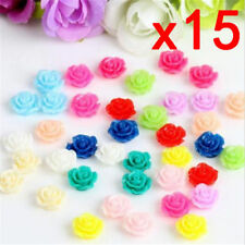 15pcs Colorful Resin Rose Flower flatback Appliques For DIY phone/craft #