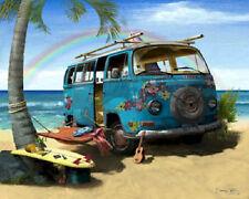 Surf Art ~Hippie beach camper ~ rainbow hammock pineapple and palm trees