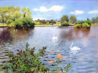Perfect Oil painting William Merritt Chase - A Long Island Lake with swan