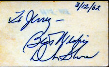 DINAH SHORE (SINGER, ACTRESS) SIGNATURE ON CARD 1962 BN4115