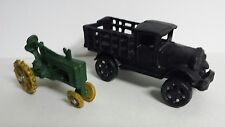 Cast Iron Stake-Sided Flat Bed Toy Truck and Small Tractor - Free Shipping