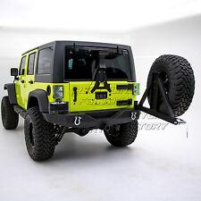 Full Width+HD+Rear Bumper+Swing Tire Carrier for 07-18 Jeep JK Wrangler