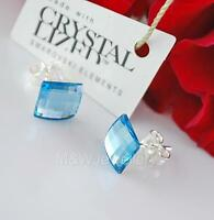 STERLING SILVER STUDS EARRINGS WITH SWAROVSKI ELEMENTS CHESSBOARD AQUAMARINE 8mm