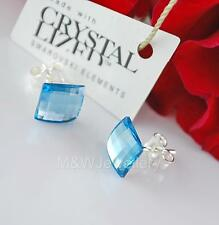 925 SILVER STUD EARRINGS CRYSTALS FROM SWAROVSKI® CHESSBOARD AQUAMARINE 8mm