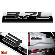 """3.7L"" Polished Metal 3D Decal Black Emblem For Ford/Infiniti/Lincoln/Nissan"
