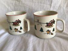 JAMESTOWN CHINA Set Of 2 Coffee Mugs The Joy Of Christmas - Santa (1987) Vintage