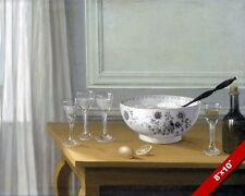PUNCH BOWL & GLASSES LEMON LIMONCELLO STILL LIFE PAINTING ART REAL CANVAS PRINT