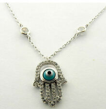 STERLING SILVER GREEK EYE HAMSA HAND OF FATIMA CZ PENDANT NECKLACE