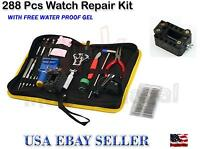 288 pcs Watch Repair Tool Kit Back Case Opener Remover Spring Pin Bar with Case