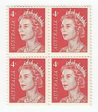 1966 'DECIMAL DEF ISSUE - RED ELIZABETH'  MNH JOINED BLOCK of 4 X 4 cent STAMPS