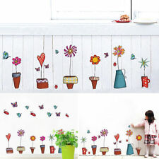 1x Cute Cartoon Flower Butterfly Wall Stickers Decal Window Glass Home Decor Hot