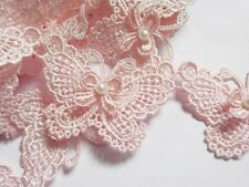 """2y Butterfly 3"""" Pearl Lace Edge Trim Pearl Wedding Applique DIY Sewing-Baby Pink"""