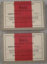 CALIBER .30 M2 BALL WW2 NEW REPLICA 20 ROUND AMMO BOX (2 PCS) - DENVER ORD PLANT