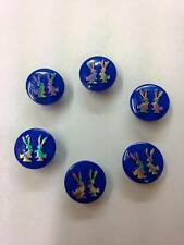 BABY MATINEE JACKET CLOTHING Rainbow Bunnies Royal Blue Buttons 14mm