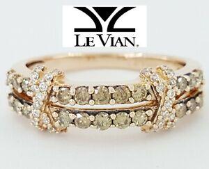 0.5 ct LeVian 14K Rose Gold Chocolate & White Diamond X Split Shank Ring $2,049