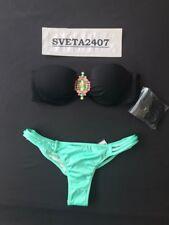 Victoria's Secret Bikini~Jewel Flirt Bandeau~Strappy Itsy~Black/Seafoam~34B/XS