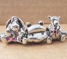 Disney Eeyore Pink Tail Winnie the Pooh & Tigger European Pan Style Beads Charms