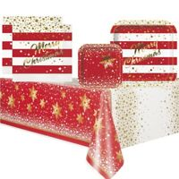 Gold Sparkle Christmas Party Supplies Tableware (Cups Plates Napkins Tablecover)