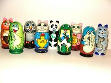 NEW Hand Painted Russian Nesting Doll 3 Pc Set Cat, Panda, Frog, Dinosaurs, Owl