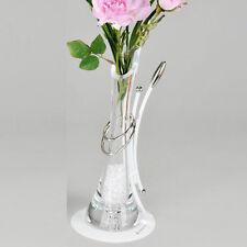 Formano Rosen Vase 29 cm weiß lackiertes Metall Glas Körper Ringe silber NEU