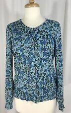 LL BEAN Womens Blue Floral Pattern Lightweight Cotton Summer Cardigan Sweater M