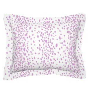 Orchid Animal Purple Leopard Abstract Dots Spots Pastel Pillow Sham by Roostery