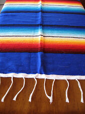 Serape ONWS-Blue Blanket Table Cover Seat Cover Throw Mexican Design 5' X 7'