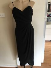 Ladies MR K Long Black Dress Size 8 Formal Slinky Fitted Spaghetti Strap Drape